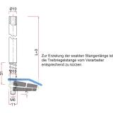 Treibriegelstange BMH 1109, 1000 mm, m. Feder f. unten u. oben, Stahl verzinkt