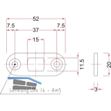 Stangenschließblech BMH 1143, 52 x 20 x 3 mm rund, Stahl verzinkt
