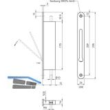 Falztreibriegel 1155, DM 30, Stulp 235 x 20 mm, Edelstahl