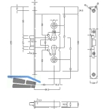 Einstemmschloss BMH 1739-R PZW nach DIN, DM 65, VK 9 mm, Stahl verzinkt