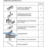Beschlagset HAWA-Junior 80/GP o. Laufschiene, f. ESG/VSG 8 - 12 mm