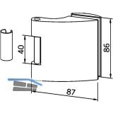 Türband Flügelteil DORMA Arcos Office 25.230, Glas 8-10 mm, silber eloxiert