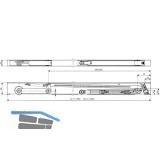 Schließfolgeregler DORMA SR 392, Gr. 1 : 1050 mm, f. Flügelb. ab 800 mm,verzinkt