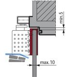 Glasklemmplatte TS 92, Glasstärke -10 mm, silber