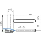 Türband Rahmenteil V 4400 GL, Bandhöhe 38,5 mm, Stahl verzinkt
