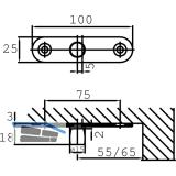 Zapfen DORMA PT 24, ø 15 mm m. Anschraublasche, Glas 10 mm, Edelstahl (01.123)