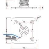 Befestigungplatte für Dekorfuß \Torino\ 125x96 mm, Stahl