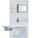 Pendeltürbeschlag Tensor Glas-Zarge z. Einl. Feststell. 90°, Alu silber eloxiert