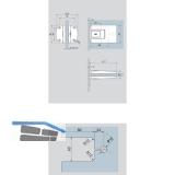 Pendeltürbeschlag Tensor Glas-Wand, Feststellpunkt 90°, Edelstahl-Effekt