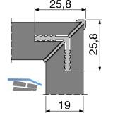 Korpus-Eckverbinderprofil 5000 mm für Holzstärke 19 mm, natur eloxiert