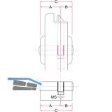 Industriedoppelzylinder EVVA gleichsperrend A05701 31/31,Messing vernickelt matt