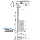 Schiebetür Stangenschloss Silent Stop, PZW, DM 60, Stulp 315 x 16 mm, verzinkt