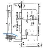 Einstemmschloss BMH 1015 PZW/2 PZ , links, DM 32/65, Edelstahl Stulp 20