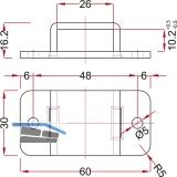 Stangenschlaufe zu Falttortreibriegel, Stange 25 X 10 mm, Stahl verzinkt