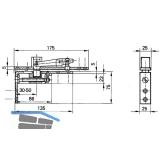 Zapfenband GEZE Modell B f. Pendeltüren m. Türschiene, Stahl blank