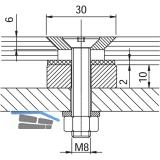 Glaspunkthalter Senk 30, 8 - 20 mm Glas, Edelstahl/Aluminium