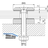 Glaspunkthalter Trapez 45, 45 mm, 8 - 20 mm Glas, Edelstahl