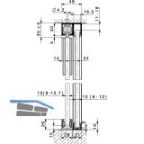 Laufschienenset HAWA-Junior 40 Festverglasung, 2000 mm, Alu farblos eloxiert