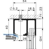 Laufschienenset HAWA-Junior 80 Festverglasung, 2500 mm, Alu farblos eloxiert