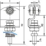 Rollapparat HELM 185 einpaarig mit Drehlager, Stahl gelb passiviert