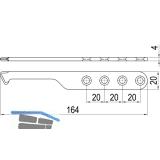 IMH-ABS Mitnehmerhaken SF, 164 x 20 x 4 mm, universal, DIN, schwarz verzinkt
