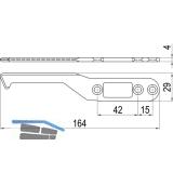 IMH-ABS Mitnehmerhaken SF, 164 x 29 x 4 mm, universal, DIN, schwarz verzinkt