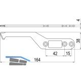 IMH-ABS Mitnehmerhaken SF, 164 x 38 x 4 mm, universal, DIN, schwarz verzinkt