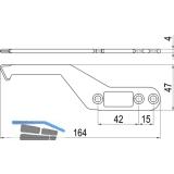 IMH-ABS Mitnehmerhaken SF, 164 x 47 x 4 mm, universal, DIN, schwarz verzinkt