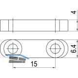Optionaler Gleitstein für Mitnehmerhaken, 24 x 6,4 x 4 mm, schwarz verzinkt