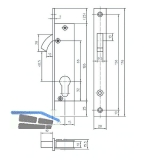 Schiebetürschloss mit Bogenriegel,PZ,DM 20,Stulp 176x20x3 eckig,silber verzinkt