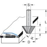 Kantenfräser HW 15 Grad Schaft 6 mm ø 22 mm