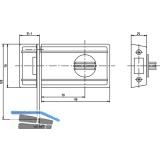 Kasten-Riegelschloss o. Außenzyl. m. Sicherungsbügel, DM 70, Stahl silberfärbig