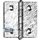 Knopfscharnier - leichte Ausführung 25x25x0,8 mm, Messing poliert