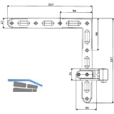 Ladenwinkelband Rustico gekröpft, seitlich verstellbar, Gr. 0 (14220)