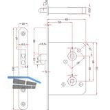 Schiebetürschloss mit Hakenriegel, PZW, DM 55, VK 8 mm, rund, Edelstahl