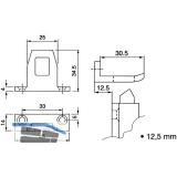 Schließblech für Überschlagshöhe 12,5 mm, Aluminium pulverbeschichtet RAL 9010