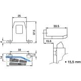 Schließblech für Überschlagshöhe 15,5 mm, Aluminium pulverbeschichtet RAL 9010