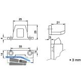 Schließblech für Überschlagshöhe 3 mm, Aluminium pulverbeschichtet RAL 9010