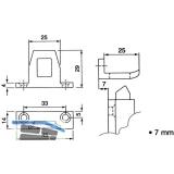 Schließblech für Überschlagshöhe 7 mm, Aluminium pulverbeschichtet RAL 9010