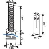 Zapfen DORMA PT 25, ø 15 mm, m. Dübel, Aluminium silber eloxiert (01.115)