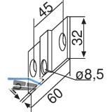 Befestigungslaschen zu PT30, Aluminium silber eloxiert