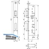 Rohrrahmenschloss Flachstulp m. Falle u. Riegel ROTO 852, DM 35, verzinkt silber