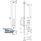 Rohrrahmenschloss Flachstulp m. Riegel ROTO 877, DM 25, verzinkt silberfärbig