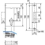 Rohrrahmenschloss Flachstulp mit Riegel, DM 27, Edelstahl