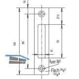 Schließblech flach, 110 x 24 x 3 mm, Edelstahl