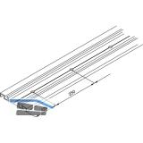 DIVIDO 80 Doppellaufschiene zum Aufschrauben gelocht,Länge 2500 mm, Alu eloxiert