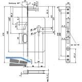 Schiebetürschloss mit Bogenriegel und Springgriff, BB, DM 55, rund, Edelstahl