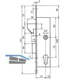 Schiebetürschloss m. Hakenfalle u. Riegel, PZW, DM 35, VK 8,5 mm,eckig,Edelstahl