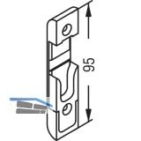 Schließteil für Rollzapfen, Stulp 20 mm, Falz 4 mm, verzinkt silberfärbig