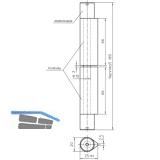 Bandrolle 3D, Bandhöhe 180 mm, Stahl blank, Abdeckkappen verzinkt
